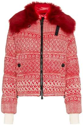 Moncler Siusi printed fur trimmed feather down jacket