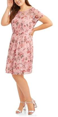 Paperdoll Women's Plus Short Sleeve Floral Print Skater Dress