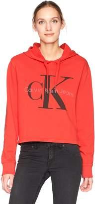Calvin Klein Women's Pop Color Hoodie with Monogram Logo Sweater