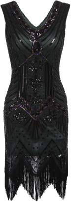ThinIce Vintage V Neck Beaded Fringed Gatsby Theme Flapper Dress
