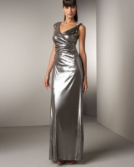 David Meister Asymmetric Metallic Gown
