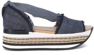 Hogan Maxi H222 Blue Canvas Sandal With Maxi Sole