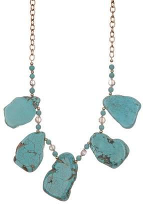 Natasha Accessories Glass Beaded Accent & Stone Pendant Necklace