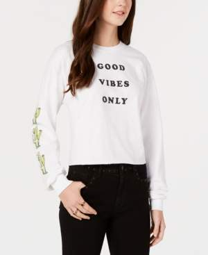 Mighty Fine Juniors' Cotton Good Vibes Graphic-Print T-Shirt