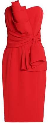 Badgley Mischka Strapless Gathered Crepe Dress