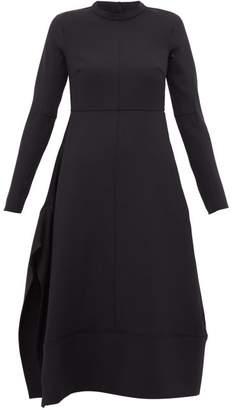 Jil Sander Side Split Panelled Wool Midi Dress - Womens - Dark Navy