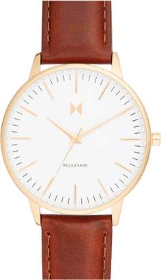 MVMT Boulevard Leather Strap Watch, 38mm