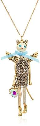 Betsey Johnson Angel Cat Long Pendant Necklace