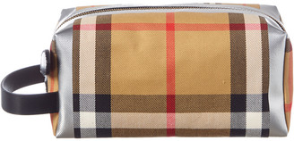 Burberry Metallic Detail Vintage Check & Leather Pouch