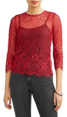 Miss Lili Juniors' All Over Lace Long Sleeve Blouse