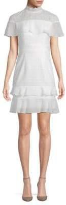 ML Monique Lhuillier Ruffle Shoulder Cocktail Dress