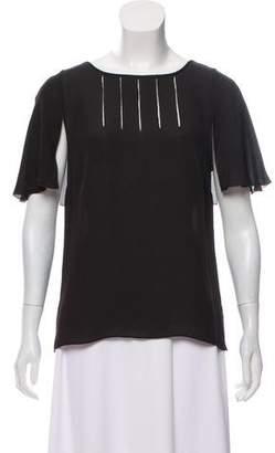 Halston Short Sleeve Silk Top