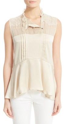 Women's Belstaff Julie Pintuck Silk Sleeveless Blouse $695 thestylecure.com