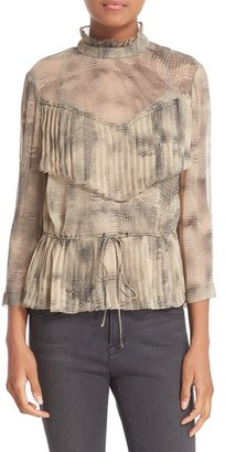 Tracy Reese Ruffle Trim Print Silk Blouse $278 thestylecure.com