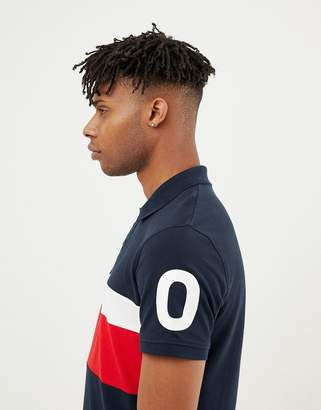 Jack and Jones Core Polo Shirt With Block Panel And Sleeve Print