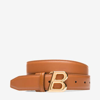 Bally B Oblique 30Mm Brown, Women's plain calf leather adjustable belt in tan
