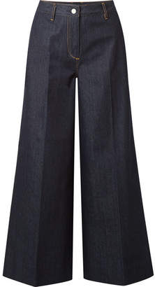 Elizabeth and James Ace Cropped High-rise Wide-leg Jeans - Dark denim
