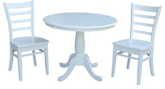 """INC International Concepts 36"""" Round Extension Dining Table With 2 Emily Chairs - 3 Piece Set - White"""