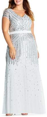 Adrianna Papell Plus Cap Sleeve Embellished Gown