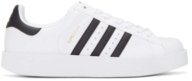 adidas Originals White and Black Superstar Bold Sneakers