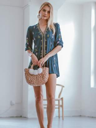 Goodnight Macaroon 'Marchell' Embroidered Boho Mini Dress