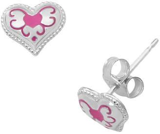 ed335467d Hallmark Kids Sterling Silver Enamel Heart Stud Earrings