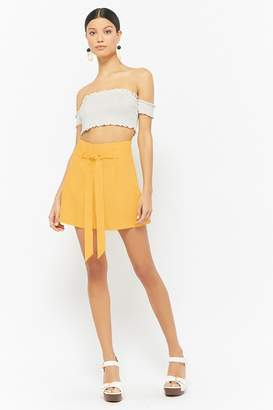 Forever 21 Linen Tie-Front Shorts