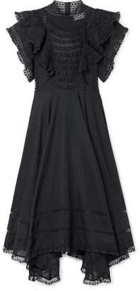 Zimmermann Juno Ruffled Lace-trimmed Swiss-dot Cotton-voile Dress - Black