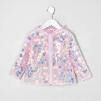 River Island Mini girls pink iridescent sequin raincoat