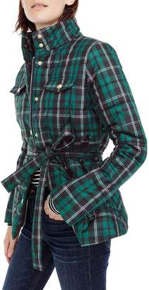J.Crew Plaid Belted Puffer Jacket