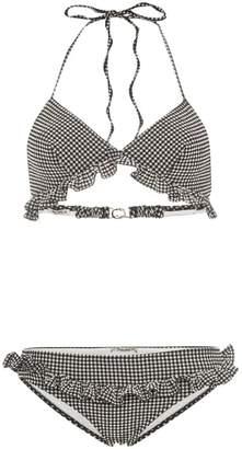 Miu Miu triangle ruffle detail gingham bikini