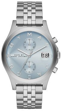 Marc by Marc Jacobs Slim Chrono Stainless Steel Chronograph Bracelet Watch/Blue $250 thestylecure.com