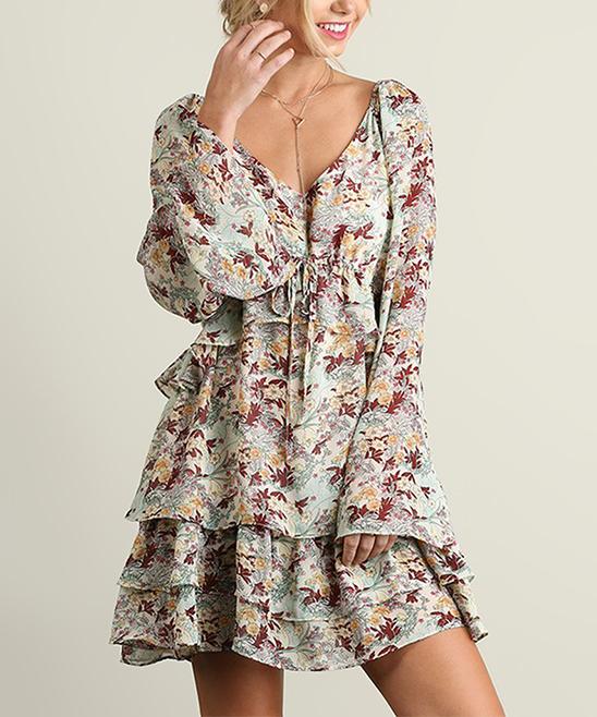 Cream & Rust Floral Tier-Hem Bell-Sleeve Peasant Dress