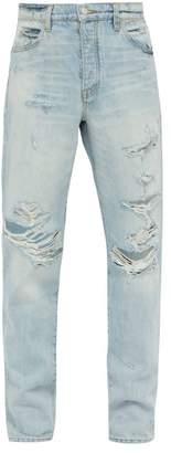 Amiri Destroyed Distressed Straight Leg Jeans - Mens - Light Blue