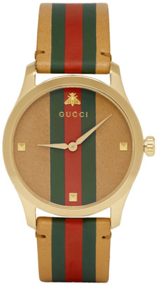 Gucci Tan and Gold Striped Leather G-Timeless Watch