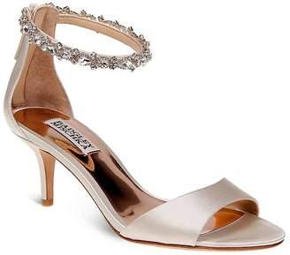 Badgley Mischka Geranium Embellished Ankle Strap Mid Heel Sandals $235 thestylecure.com