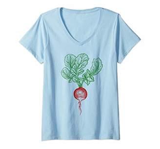 Womens Vegetable Retro Vintage: Vegetarian Gardener Gift - Radish V-Neck T-Shirt