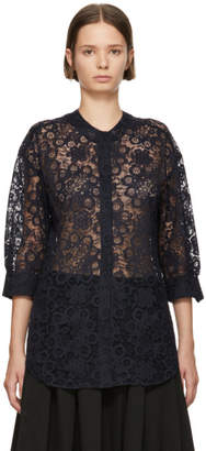 Sara Lanzi Navy Lace Shirt