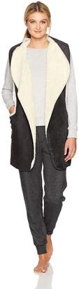 Hue Women's Sleeveless Sherpa Fleece Hooded Robe