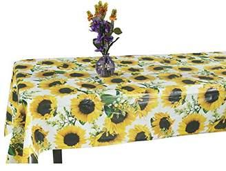 Ottomanson Vinyl Tablecloth Sunflower Design Indoor & Outdoor Non-Woven Backing Tablecloth