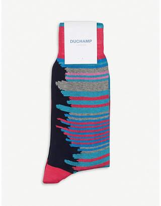 Duchamp Broken Stripe cotton-blend socks