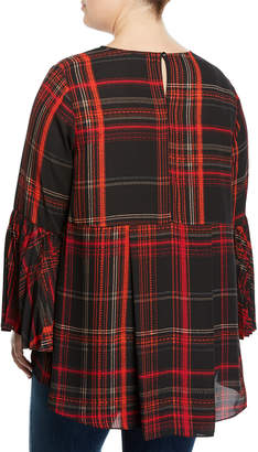 Vince Camuto Plus Plaid Pleated Bell-Sleeve Blouse, Plus Size