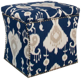 One Kings Lane Merritt Storage Ottoman - Navy Ikat
