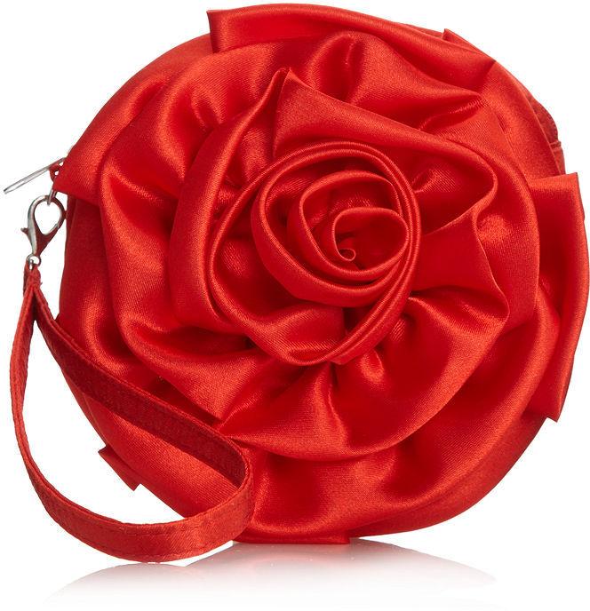 Jessica McClintock Handbag, Satin Rosette Evening Clutch