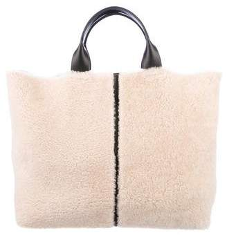 Reed Krakoff Leather-Trimmed Shearling Tote