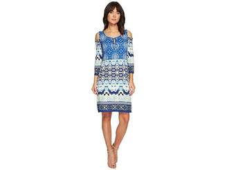 Tribal Cold Shoulder Printed Dress with Keyhole Detail Women's Dress
