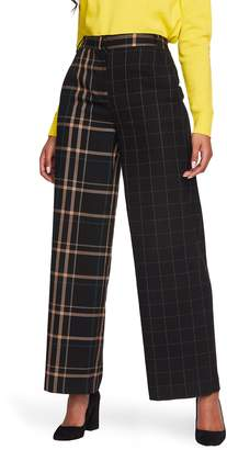 1 STATE 1.STATE Mixed Check Wide Leg Pants