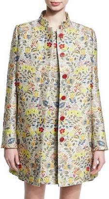 Zac Posen Floral Jacquard Car Coat, Gold Bouquet