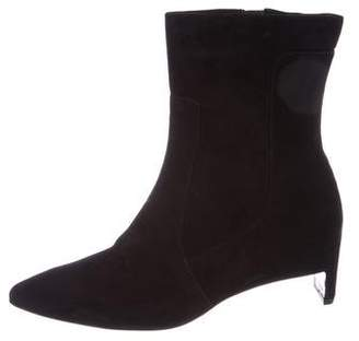 Robert Clergerie Suede Pointed-Toe Ankle Boots