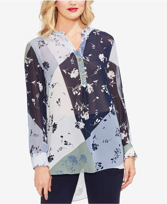 Vince Camuto Patchwork-Print Henley Tunic